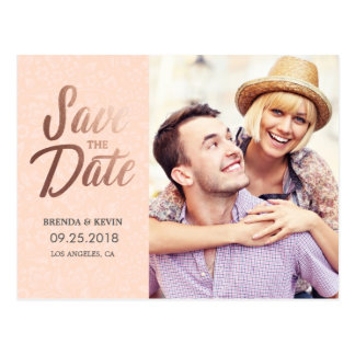 Elegant Rose Gold | Photo Save the Date Postcard