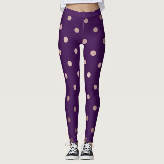 elegant rose gold purple polka dots leggings