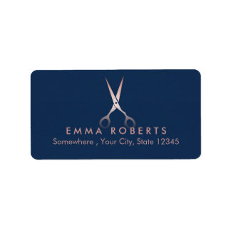 Elegant Rose Gold Scissor Modern Navy Blue Label