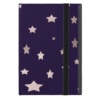 elegant rose gold stars on a purple background cover for iPad mini