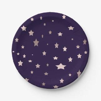 elegant rose gold stars on a purple background paper plate