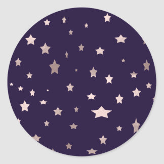 elegant rose gold stars on a purple background round sticker