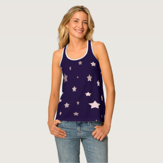 elegant rose gold stars on a purple background singlet