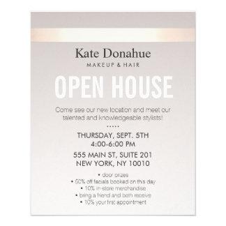 Elegant Rose Gold Striped Modern Open House 11.5 Cm X 14 Cm Flyer