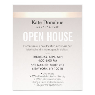 Elegant Rose Gold Striped Modern Open House Flyer
