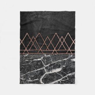 Elegant Rose Gold Triangles & Black & White Marble Fleece Blanket