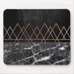 Elegant Rose Gold Triangles & Black & White Marble Mouse Pad