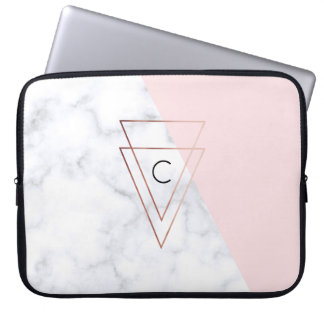 elegant rose gold triangles white marble pink laptop sleeve