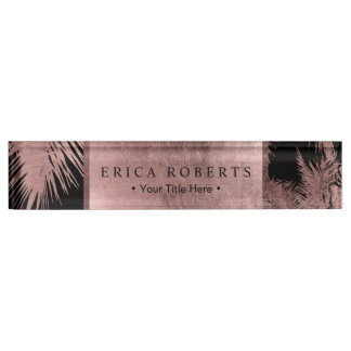Elegant Rose Gold Tropical Palm Tree Modern Name Plate