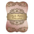 Elegant Rose Gold Vintage Damask Quinceanera Card