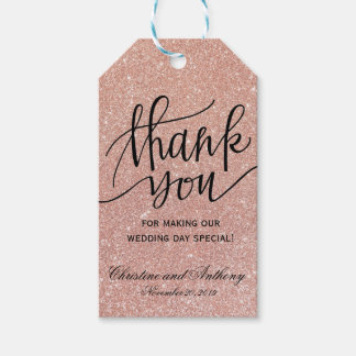 Elegant Rose Gold Wedding Thank You Favor Tags