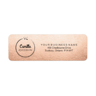 Elegant Rose Gold with Hearts Return Address Label