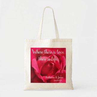 Elegant Rose Wedding Favours, personalise Tote Bag