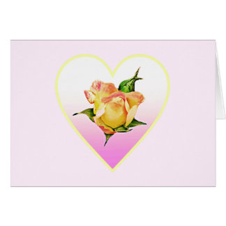 Elegant rosebud in a heart card