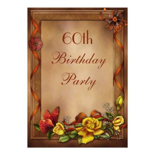 Elegant Roses & Butterfly 60th Birthday Party Custom Invitations