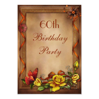 "Elegant Roses & Butterfly 60th Birthday Party 5"" X 7"" Invitation Card"