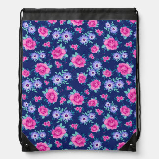 Elegant Roses Floral Pink Purple Blue Pattern Drawstring Bag