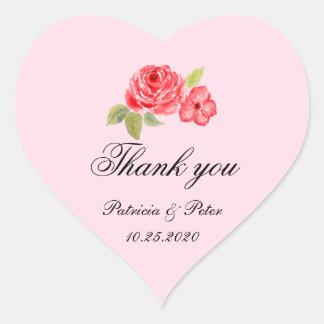 Elegant Roses Heart Thank You Heart Sticker
