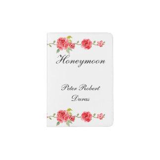 Elegant Roses On White Grooms Honeymoon Passport Holder