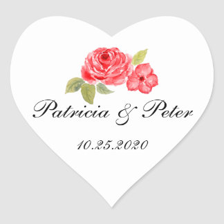 Elegant Roses On White Heart Seal Heart Sticker