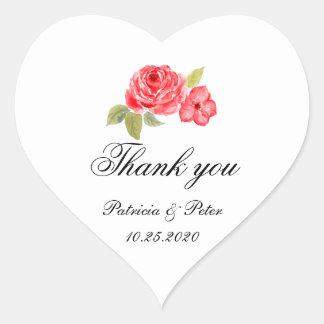 Elegant Roses On White Heart Thank You Heart Sticker
