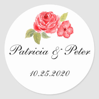 Elegant Roses On White Round Seal Round Sticker