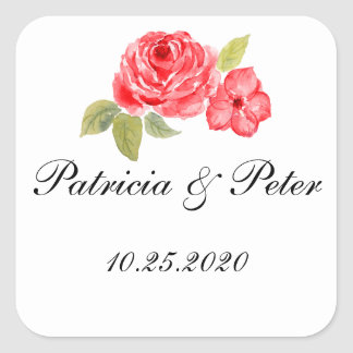 Elegant Roses On White Square Seal Square Sticker