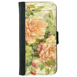 Elegant roses pattern and wood texture iPhone 6 wallet case