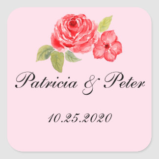 Elegant Roses Square Seal Square Sticker