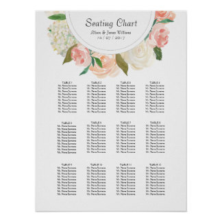 Elegant roses weddin dinner seating chart poster