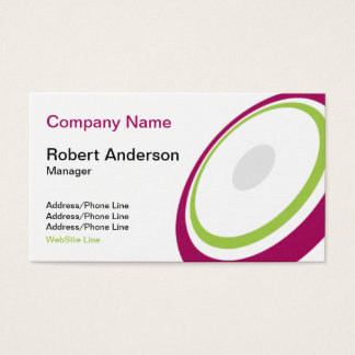 Elegant Round Element Purple Green Business Card
