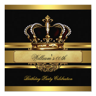 Elegant Royal Black Gold Birthday Prince King 13 Cm X 13 Cm Square Invitation Card