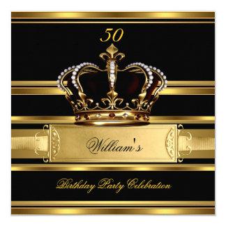 Elegant Royal Black Gold Birthday Prince King 2a 13 Cm X 13 Cm Square Invitation Card