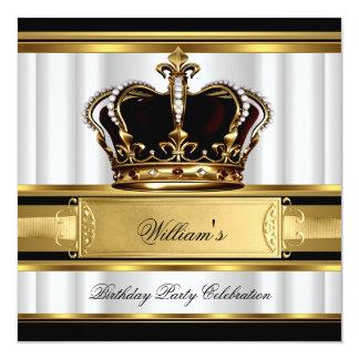 Elegant Royal Black Gold Birthday Prince King 2B 13 Cm X 13 Cm Square Invitation Card