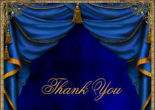Blue Gold Thank You Cards Zazzle Com Au