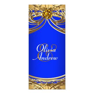 "Elegant Royal Blue and Gold Wedding 4"" X 9.25"" Invitation Card"