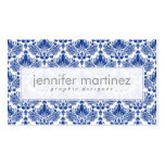 Elegant Royal Blue And White Damasks & Swirls Pack Of Standard Business Cards