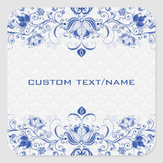 Elegant Royal Blue And White Damasks & Swirls Square Sticker
