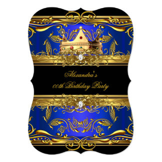 "Elegant Royal Blue Black King Queen Birthday Party 5"" X 7"" Invitation Card"