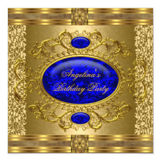 Elegant Royal Blue Gold Birthday Party 5.25x5.25 Square Paper Invitation Card