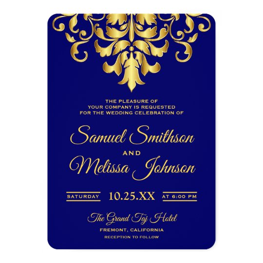 Elegant Royal Blue Gold Damask Wedding Invitation