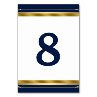 Elegant Royal Blue Gold Wedding Table Cards