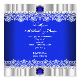 Elegant Royal Blue Lace Silk Birthday Party Invitations