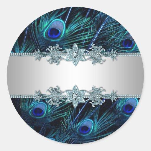 Elegant Royal Blue Peacock Stickers