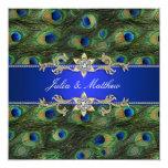 Elegant Royal Blue Peacock Wedding 13cm X 13cm Square Invitation Card