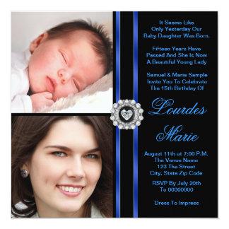 "Elegant Royal Blue Photo Quinceanera Invitations 5.25"" Square Invitation Card"