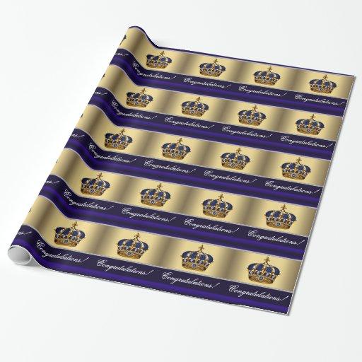 Elegant Royal Blue Prince Baby Shower Gift Wrap