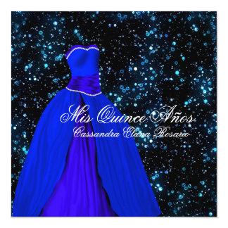 """Elegant Royal Blue Quinceanera Invitations 5.25"""" Square Invitation Card"""