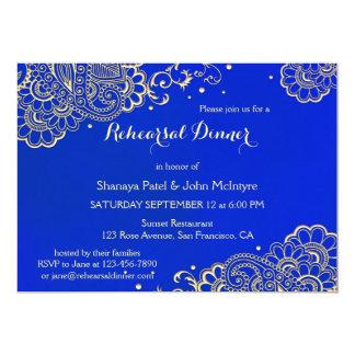 Elegant Royal Blue Rehearsal Dinner Invitation