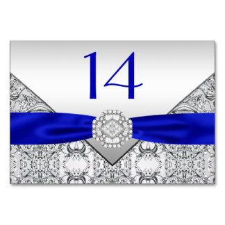 Elegant Royal Blue Silver Wedding Card